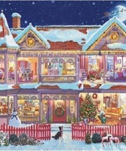 Julehus med flyvende julemand - Diamond Paint
