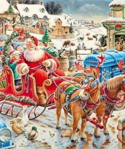 Julemand med kane - Diamond Paint