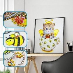 Kat i gul kop - diamond paint