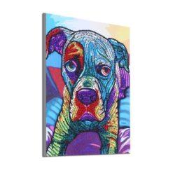 Multifarvet hund i skinnende diamanter - Diamond Paint