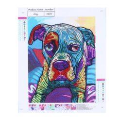 Multifarvet hund i skinnende sten - Diamond Paint