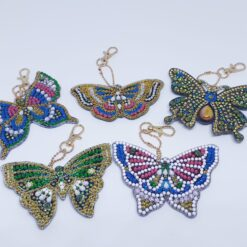 Diamond Paint nøgleringe med sommerfugle