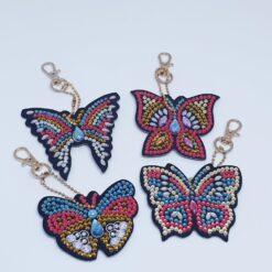 4 Diamond Paint nøgleringe med sommerfugle
