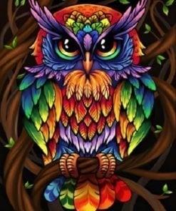 Ugle i mange farver - Diamond Paint