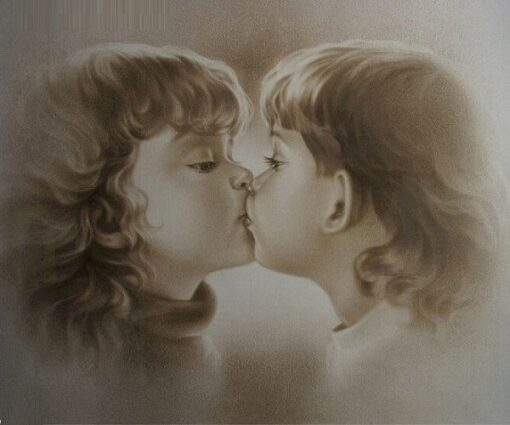 2 børn kysser - diamond paint
