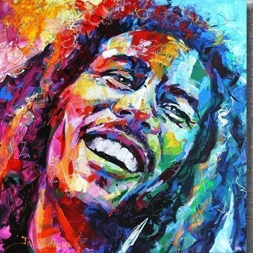 Image of Bob Marley i mange farver