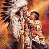 Indianer med barn på skødet - Diamond Paint