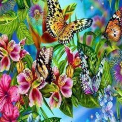 Blomster og sommerfugle - diamond paint