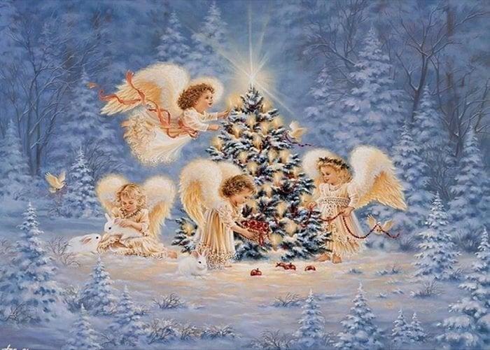 Billede af Engle ved juletræ