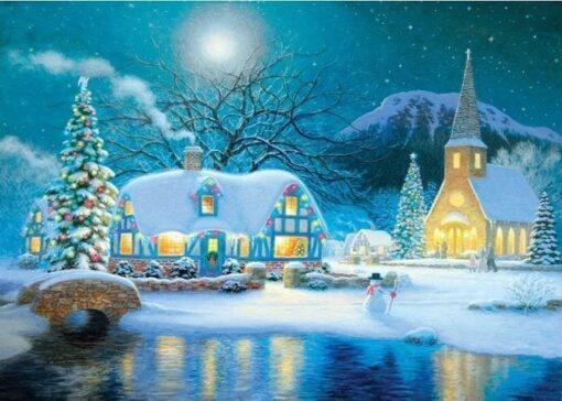 Julekirke med snemænd - diamond paint