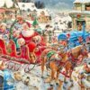 Julemand med kane og børn - diamond paint