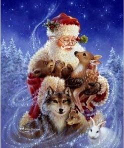 Julemand med skovens dyr - diamond paint