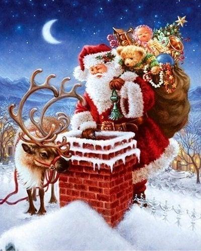 Julemand ved skorsten - diamond paint