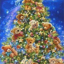 Juletrae med bamser - diamond paint
