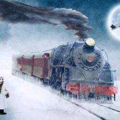 Lokomotiv og flyvende julemand - Diamond Paint