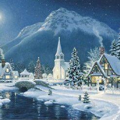 Vinterlandskab med kirke i diamond paint