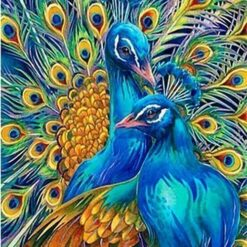 2 blå påfugle - Diamond Paint