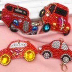 Diamond Paint nøgleringe med røde biler