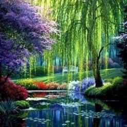 Farverigt landskab - Diamond Paint