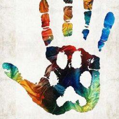 Håndaftryk i mange farver - Diamond paint
