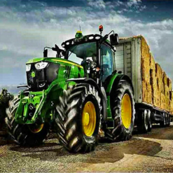 John Deer med vogn - Diamond Paint