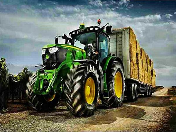 Diamond Painting - John Deere traktor med vogn thumbnail