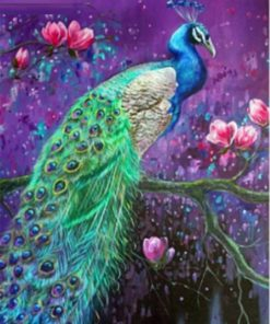 Påfugl med lilla baggrund - Diamond paint