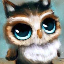 Ugle med store øjne - Diamond Paint
