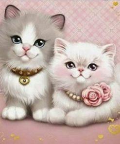 2 små kattekillinger - Diamond Paint