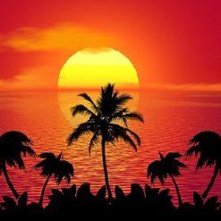 Blodrød solnedgang - Diamond Paint