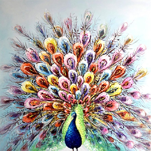 Farverig påfugl - Diamond Paint