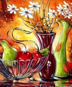 Frugtkurv og blomster - Diamond Paint