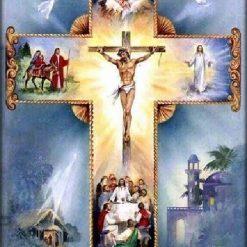 Kors med blå baggrund - Diamond Paint