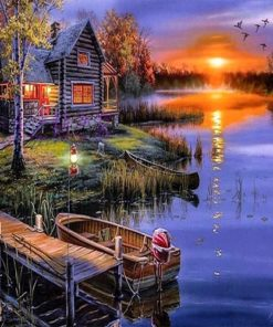 Træhus ved sø - Diamond Paint