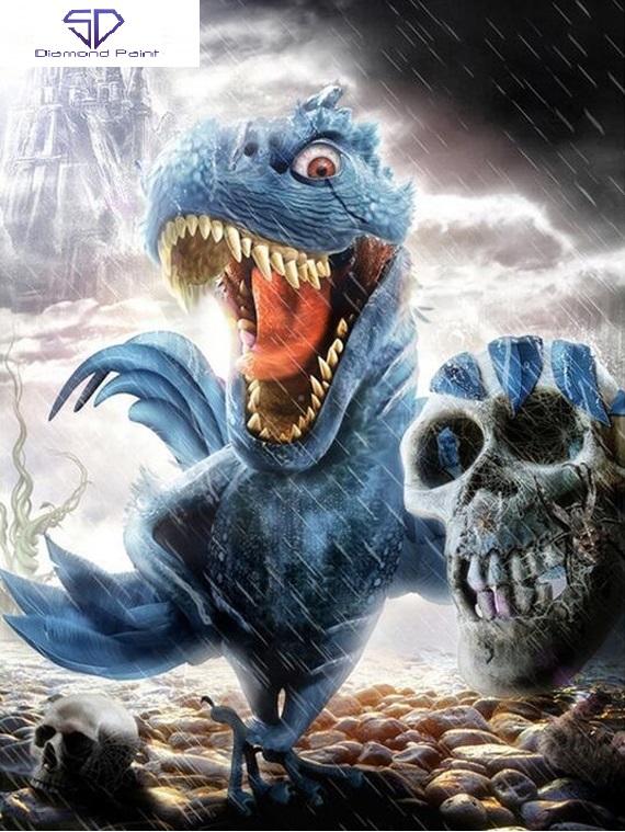 Image of Dinosaurus med kranium