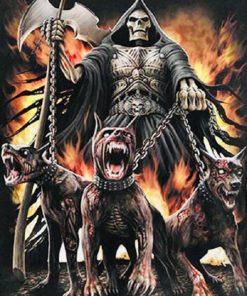 Døden med sine snerrende hunde i diamond paint