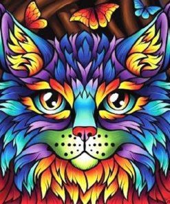 Kat i mange farver - diamond paint