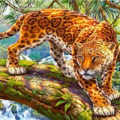 Leopard på gren - Diamond Paint