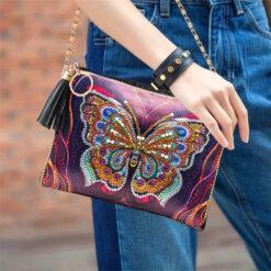 Taske med sommerfugl - Diamond Paint