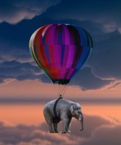 Luftballon med elefant i diamond paint