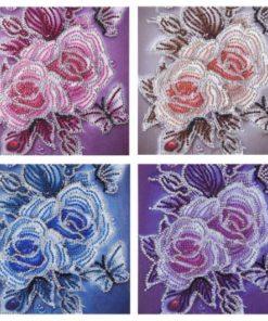 4 roser i forskellige farver - Diamond Paint