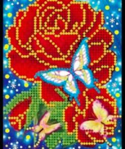 Notesbog med roser og sommerfugle - diamond paint