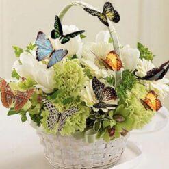 Blomster med sommerfugle - Diamond Paint