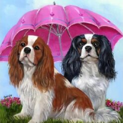 2 hunder med paraply i diamond paint