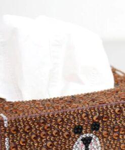 Brun servietboks med bamse-ansigt i diamond paint