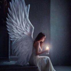 Engel med lys i diamond paint