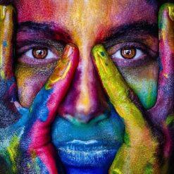 Farverigt ansigt - diamond paint