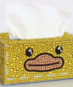 Servietboks med øjne og andenæb i diamond paint