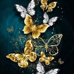 Sommerfugle i guld og sølv - diamond paint