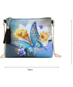 Skuldertaske med sommerfugl i diamond paint